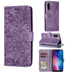 Intricate Embossing Lace Jasmine Flower Leather Wallet Case for Xiaomi Mi 9 - Purple