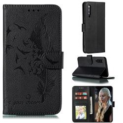 Intricate Embossing Lychee Feather Bird Leather Wallet Case for Xiaomi Mi 9 - Black
