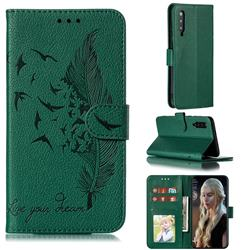 Intricate Embossing Lychee Feather Bird Leather Wallet Case for Xiaomi Mi 9 - Green