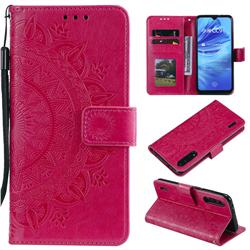 Intricate Embossing Datura Leather Wallet Case for Xiaomi Mi 9 Lite - Rose Red