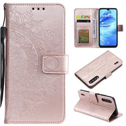 Intricate Embossing Datura Leather Wallet Case for Xiaomi Mi 9 Lite - Rose Gold