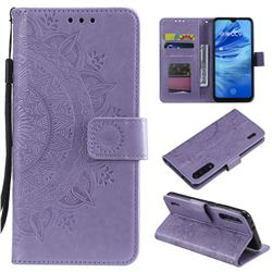Intricate Embossing Datura Leather Wallet Case for Xiaomi Mi 9 Lite - Purple