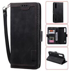 Luxury Retro Stitching Leather Wallet Phone Case for Xiaomi Mi 9 Lite - Black
