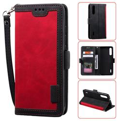 Luxury Retro Stitching Leather Wallet Phone Case for Xiaomi Mi 9 Lite - Deep Red