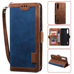 Luxury Retro Stitching Leather Wallet Phone Case for Xiaomi Mi 9 Lite - Dark Blue