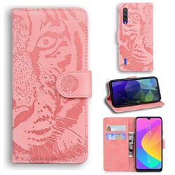 Intricate Embossing Tiger Face Leather Wallet Case for Xiaomi Mi 9 Lite - Pink