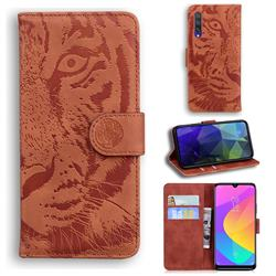 Intricate Embossing Tiger Face Leather Wallet Case for Xiaomi Mi 9 Lite - Brown