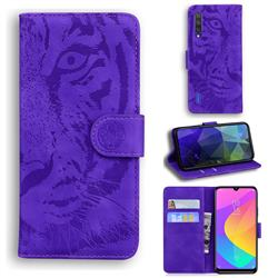 Intricate Embossing Tiger Face Leather Wallet Case for Xiaomi Mi 9 Lite - Purple