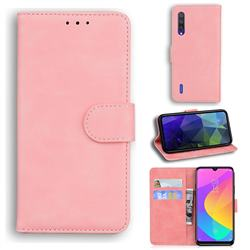 Retro Classic Skin Feel Leather Wallet Phone Case for Xiaomi Mi 9 Lite - Pink