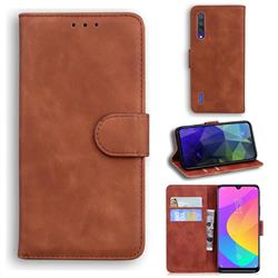 Retro Classic Skin Feel Leather Wallet Phone Case for Xiaomi Mi 9 Lite - Brown