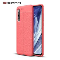 Luxury Auto Focus Litchi Texture Silicone TPU Back Cover for Xiaomi Mi 9 Pro - Red