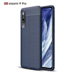 Luxury Auto Focus Litchi Texture Silicone TPU Back Cover for Xiaomi Mi 9 Pro - Dark Blue