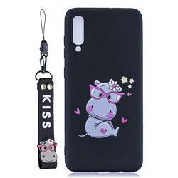 Black Flower Hippo Soft Kiss Candy Hand Strap Silicone Case for Xiaomi Mi 9 Pro