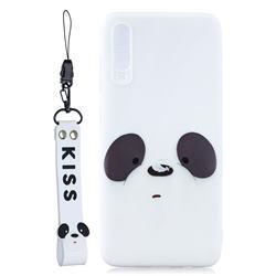White Feather Panda Soft Kiss Candy Hand Strap Silicone Case for Xiaomi Mi 9 Pro