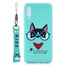Green Glasses Dog Soft Kiss Candy Hand Strap Silicone Case for Xiaomi Mi 9 Pro