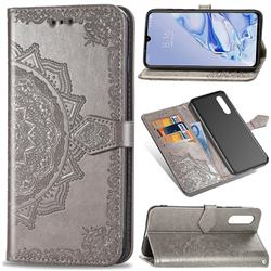 Embossing Imprint Mandala Flower Leather Wallet Case for Xiaomi Mi 9 Pro - Gray