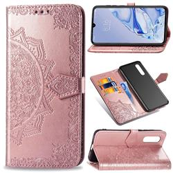 Embossing Imprint Mandala Flower Leather Wallet Case for Xiaomi Mi 9 Pro - Rose Gold