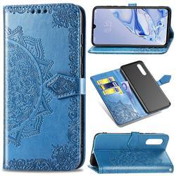 Embossing Imprint Mandala Flower Leather Wallet Case for Xiaomi Mi 9 Pro - Blue