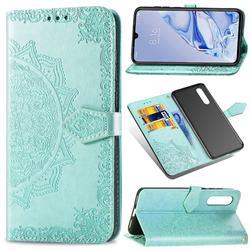 Embossing Imprint Mandala Flower Leather Wallet Case for Xiaomi Mi 9 Pro - Green