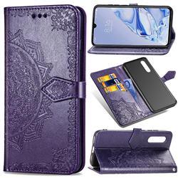 Embossing Imprint Mandala Flower Leather Wallet Case for Xiaomi Mi 9 Pro - Purple