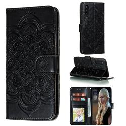 Intricate Embossing Datura Solar Leather Wallet Case for Xiaomi Mi 9 Pro - Black