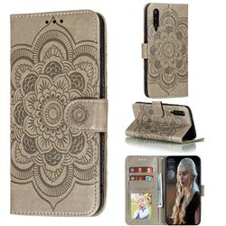 Intricate Embossing Datura Solar Leather Wallet Case for Xiaomi Mi 9 Pro - Gray