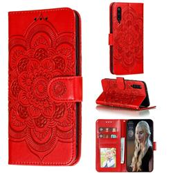 Intricate Embossing Datura Solar Leather Wallet Case for Xiaomi Mi 9 Pro - Red