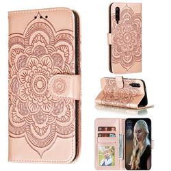 Intricate Embossing Datura Solar Leather Wallet Case for Xiaomi Mi 9 Pro - Rose Gold