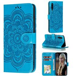 Intricate Embossing Datura Solar Leather Wallet Case for Xiaomi Mi 9 Pro - Blue