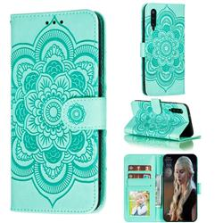Intricate Embossing Datura Solar Leather Wallet Case for Xiaomi Mi 9 Pro - Green