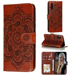 Intricate Embossing Datura Solar Leather Wallet Case for Xiaomi Mi 9 Pro - Brown