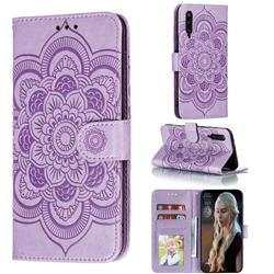 Intricate Embossing Datura Solar Leather Wallet Case for Xiaomi Mi 9 Pro - Purple