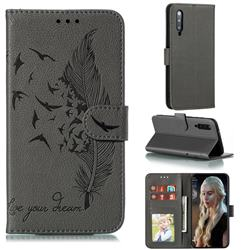 Intricate Embossing Lychee Feather Bird Leather Wallet Case for Xiaomi Mi 9 Pro - Gray