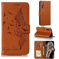 Intricate Embossing Lychee Feather Bird Leather Wallet Case for Xiaomi Mi 9 Pro - Brown