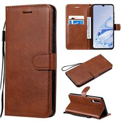 Retro Greek Classic Smooth PU Leather Wallet Phone Case for Xiaomi Mi 9 Pro 5G - Brown