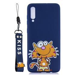 Blue Cute Cat Soft Kiss Candy Hand Strap Silicone Case for Xiaomi Mi 9 SE