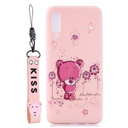 Pink Flower Bear Soft Kiss Candy Hand Strap Silicone Case for Xiaomi Mi 9 SE