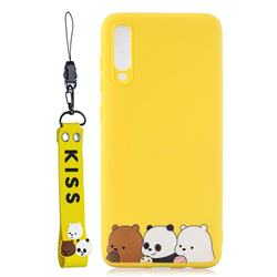 Yellow Bear Family Soft Kiss Candy Hand Strap Silicone Case for Xiaomi Mi 9 SE