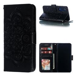 Intricate Embossing Datura Solar Leather Wallet Case for Xiaomi Mi 9 SE - Black