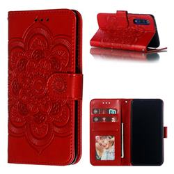 Intricate Embossing Datura Solar Leather Wallet Case for Xiaomi Mi 9 SE - Red