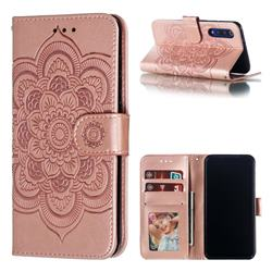 Intricate Embossing Datura Solar Leather Wallet Case for Xiaomi Mi 9 SE - Rose Gold