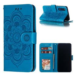Intricate Embossing Datura Solar Leather Wallet Case for Xiaomi Mi 9 SE - Blue