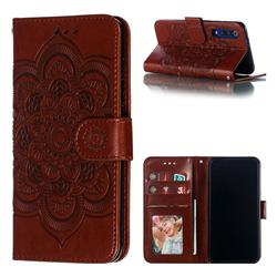 Intricate Embossing Datura Solar Leather Wallet Case for Xiaomi Mi 9 SE - Brown