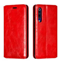 Retro Slim Magnetic Crazy Horse PU Leather Wallet Case for Xiaomi Mi 9 SE - Red