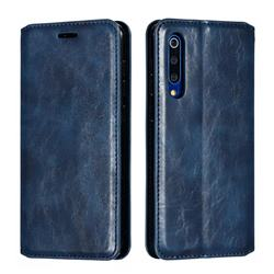 Retro Slim Magnetic Crazy Horse PU Leather Wallet Case for Xiaomi Mi 9 SE - Blue