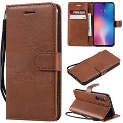Retro Greek Classic Smooth PU Leather Wallet Phone Case for Xiaomi Mi 9 SE - Brown