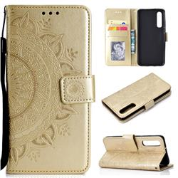 Intricate Embossing Datura Leather Wallet Case for Xiaomi Mi 9 SE - Golden