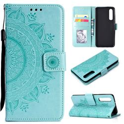 Intricate Embossing Datura Leather Wallet Case for Xiaomi Mi 9 SE - Mint Green