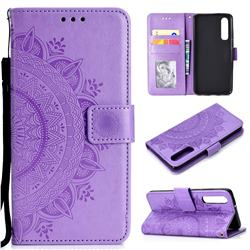 Intricate Embossing Datura Leather Wallet Case for Xiaomi Mi 9 SE - Purple
