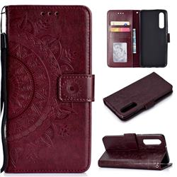 Intricate Embossing Datura Leather Wallet Case for Xiaomi Mi 9 SE - Brown
